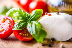 Basil leaves tomato mozzarella and olive oil. Ingredients on italian salad caprese Royalty Free Stock Images