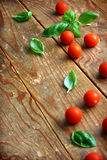 Basil leaves and tomatoes. Fresh leaves of basil placed with cherry tomatoes on wooden background Stock Image