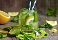 Basil lemonade. Basil lemonade - cold summer drink Stock Image