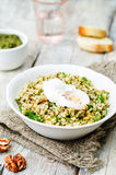 Basil nuts pesto quinoa with walnuts, parsley and poached egg Royalty Free Stock Image