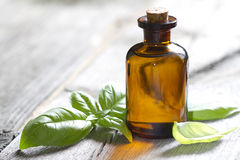 Free Basil Oil And Fresh Herbs Stock Image - 55821351