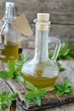Basil olive oil Stock Image