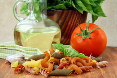 Basil, pasta and olive oil Stock Image