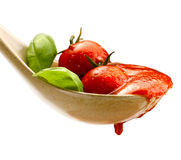 Basil pasta and tomato sauce Royalty Free Stock Photography