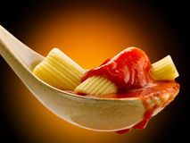 Basil pasta and tomato sauce Stock Images