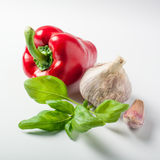 Basil pepper and garlic on white background Stock Images