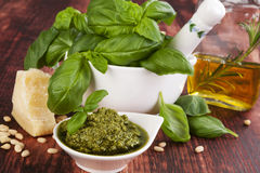 Basil pesto. Royalty Free Stock Photography