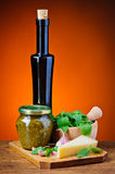 Basil pesto and ingredients Stock Photography