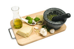 Basil pesto ingredients and utensils Stock Image