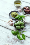 Basil Pesto, Olives, Sea Salt and Olive Oil Stock Images
