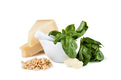 Basil pesto sauce and fresh ingredient Stock Photography