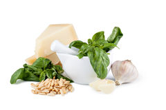 Basil pesto sauce and fresh ingredient Royalty Free Stock Photography