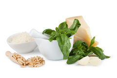 Basil pesto sauce and fresh ingredient Stock Images
