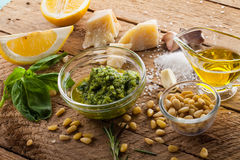 Basil pesto sauce and fresh ingredient Stock Photo