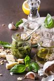 Basil pesto sauce Stock Images