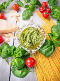 Basil pesto spaghetti , raw ingredients for cooking Stock Photography