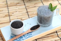 Basil seeds for fiber beverage and raw seed Royalty Free Stock Images