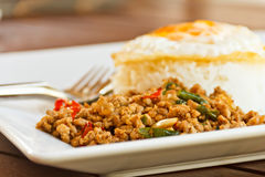 Basil Stir fried egg. Thailand food Royalty Free Stock Photos