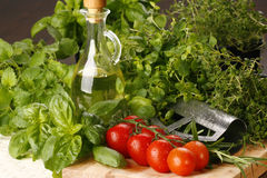 Basil and tomato. Kitchen table with fresh tomato and fresh herbs stock images