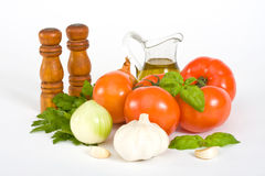 Basil, tomato and garlic Royalty Free Stock Images