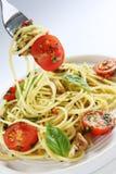 Basil and Tomato Spaghetti Stock Photos