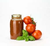 Basil tomatoes and tomato sauce Royalty Free Stock Photos