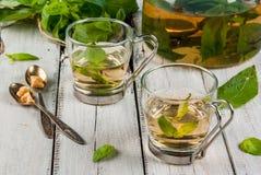 Basil ziołowa herbata na drewnianym stole Obraz Stock