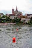 Basilea y el Rin imágenes de archivo libres de regalías