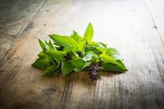 Basilic bladeren op een houten lijst Stock Foto's