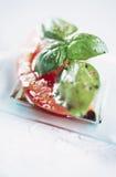 Basilic d'american national standard de tomate avec la rectification française image libre de droits