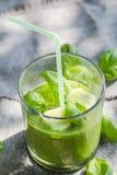 Basilic frais de céleri de concombres de smoothie vert photos stock