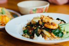 Basilic frit par crevette Images libres de droits