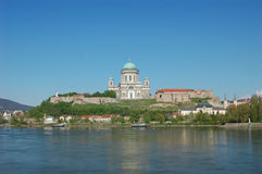 Basilica. The basilica of Esztergom from the other side of the river Danubia Stock Images