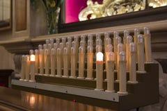 Basilica of Alberobello. Candles. Basilica of Alberobello. Offertory, electric candles Stock Photography