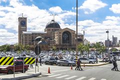 Aparecida cathedral in Sao Paulo, Brazil - External view. APARECIDA, SAO PAULO - BRAZIL - AUG 6, 2017: Parking of the Basilica of the National Shrine of royalty free stock photo