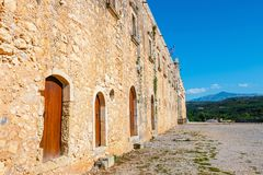 Basilica of Arkadi Monastery on Crete, Greece. Basilica of Arkadi Monastery on Crete Island, Greece Stock Photo