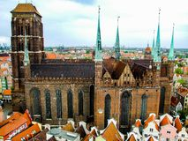 Basilica of the Assumption of the Blessed Virgin Mary in Gdansk. Roman Catholic St Mary`s church. Basilica of the Assumption of the Blessed Virgin Mary in Danzig Royalty Free Stock Image