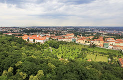 Basilica of the Assumption of Our Lady. View from Petrin Lookout Tower Royalty Free Stock Photos