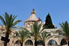 Basilica av annunciationen i Nazareth Arkivbilder