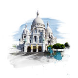 Basilica - Basilique Sacre Coeur. Paris, France. Art with brushes and watercolors Stock Photography
