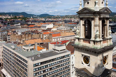 Basilica Bell Tower and Budapest Cityscape Stock Images
