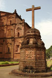 Basilica of Bom Jesus with a cross in Old Goa, India. Vertical shot. Stock Image