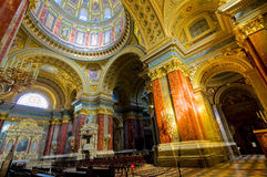 The Basilica in Budapest. View of the interior  of the St Stephen's Basilica in Budapest Royalty Free Stock Photo