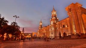 The Basilica Cathedral at dusk. Plaza de Armas. Arequipa. Peru Stock Image