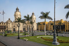 The Basilica Cathedral of Lima at Plaza Mayor - Lima, Peru. The Basilica Cathedral of Lima at Plaza Mayor in Lima, Peru royalty free stock photos