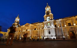 The Basilica Cathedral by night. Plaza de Armas. Arequipa. Peru Royalty Free Stock Photography