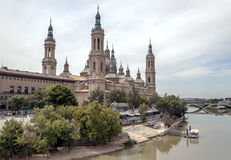 The Basilica Cathedral of Our Lady of the Pillar. Is a Roman Catholic church in the city of Zaragoza, Aragon, Spain. The Basilica venerates Blessed Virgin Mary Royalty Free Stock Image