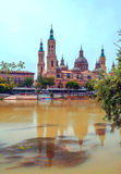 The Basilica Cathedral of Our Lady of the Pillar. Is a Roman Catholic church in the city of Zaragoza, Aragon, Spain. The Basilica venerates Blessed Virgin Mary Royalty Free Stock Photo