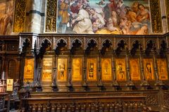 Basilica Choir Stall Cathedral Church Siena Italy. royalty free stock photography