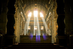 Basilica(church) di San Pietro in Vaticano. The mysterious and solemn sun light in San Pietro church in Vaticano in the morning Royalty Free Stock Photography